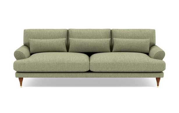 Maxwell Sofa with Green Sprout Fabric and Oiled Walnut with Brass Cap legs - Interior Define