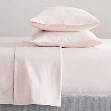 Organic Washed Cotton Sheet Set, King Set of 2, Pink Champagne - West Elm