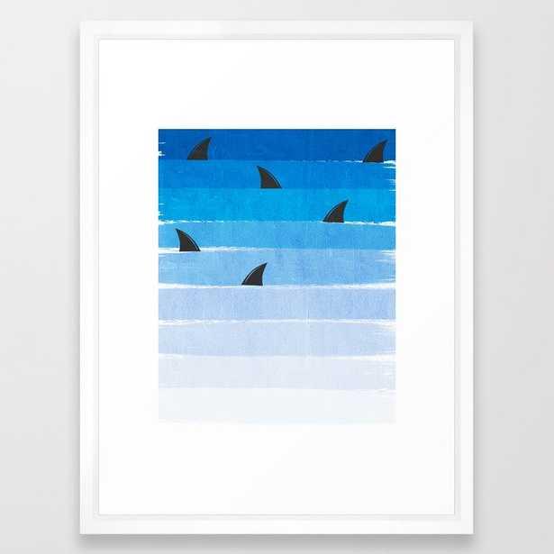 Sharks - Shark Week Trendy Black And White Minimal Kids Pattern Print Ombre Blue Ocean Surfing Framed Art Print by Charlottewinter - Vector White - MEDIUM (Gallery)-20x26 - Society6