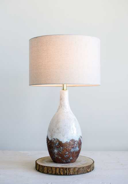 2-Tone Ceramic Table Lamp with Linen Shade (Each one will vary) - Nomad Home