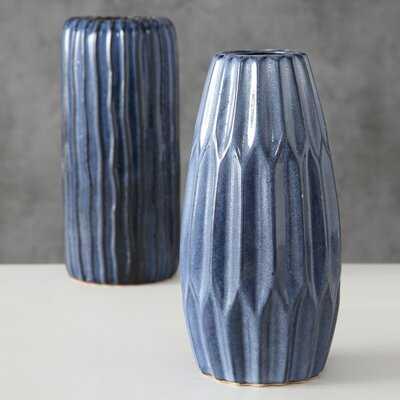 2 Piece Blue Porcelain Table Vase Set - Wayfair