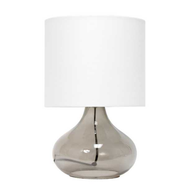 Simple Designs 13.5 inch Glass Raindrop Table Lamp with Fabric Shade - Home Depot