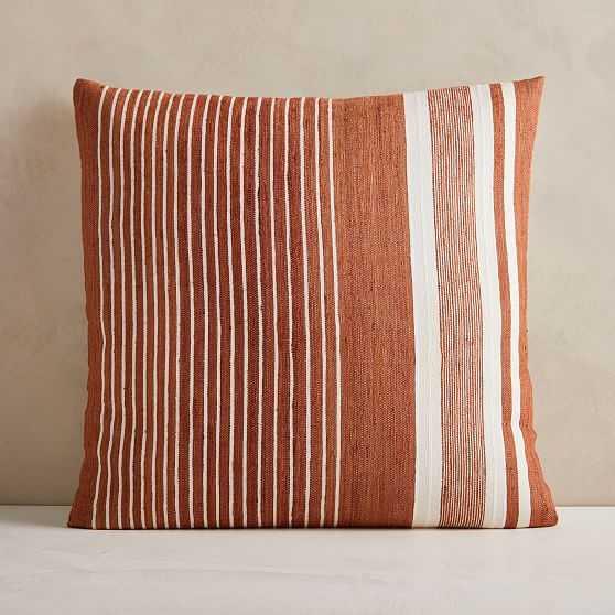"Silk Variegated Stripe Pillow Cover, 24""x24"", Copper - West Elm"