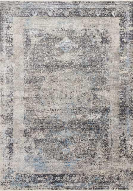 "Loloi Franca FRN-03 Charcoal / Sky 1'-6"" x 1'-6"" Sample Swatch - Loma Threads"