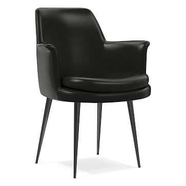 Finley Wing Dining Chair, Parc Leather, Black, Gunmetal - West Elm