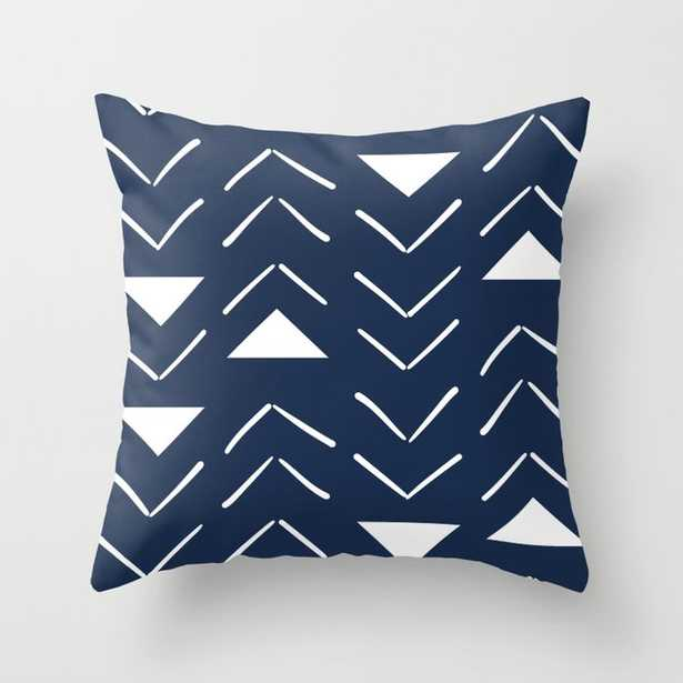 """Mud Cloth Vector In Navy Couch Throw Pillow by Becky Bailey - Cover (20"""" x 20"""") with pillow insert - Indoor Pillow - Society6"""