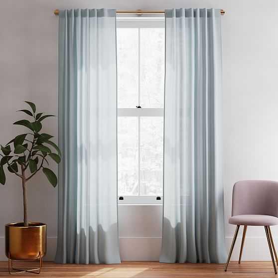 "Sheer European Flax Linen Curtain, Washed Blue Gemstone, 48""x84"" - West Elm"