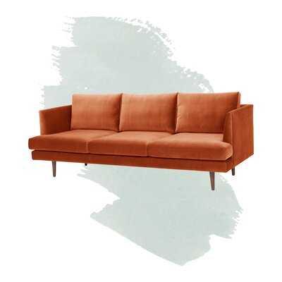 "Norah Velvet 84"" Recessed Arms Sofa - Wayfair"