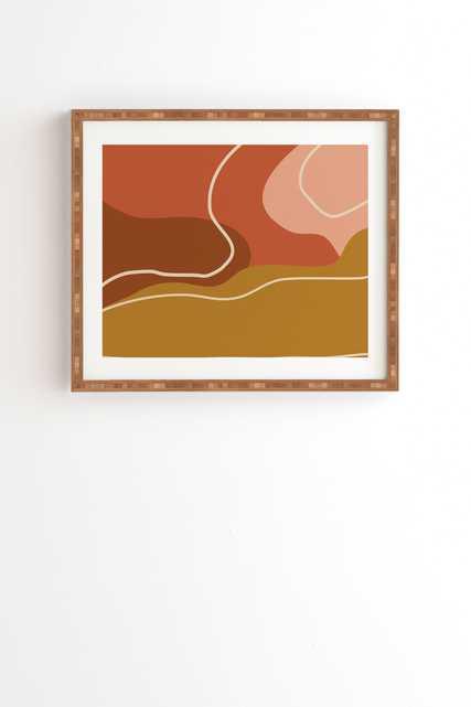 "Framed Wall Art Bamboo, Abstract Organic Shapes In Zen, 8"" x 9.5"" - Wander Print Co."