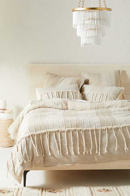 Woven Etta Duvet Cover By Anthropologie in Beige Size KG TOP/BED - Anthropologie