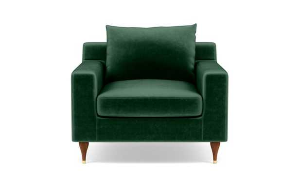Sloan Accent Chair with Green Malachite Fabric, down alternative cushions, and Oiled Walnut with Brass Cap legs - Interior Define
