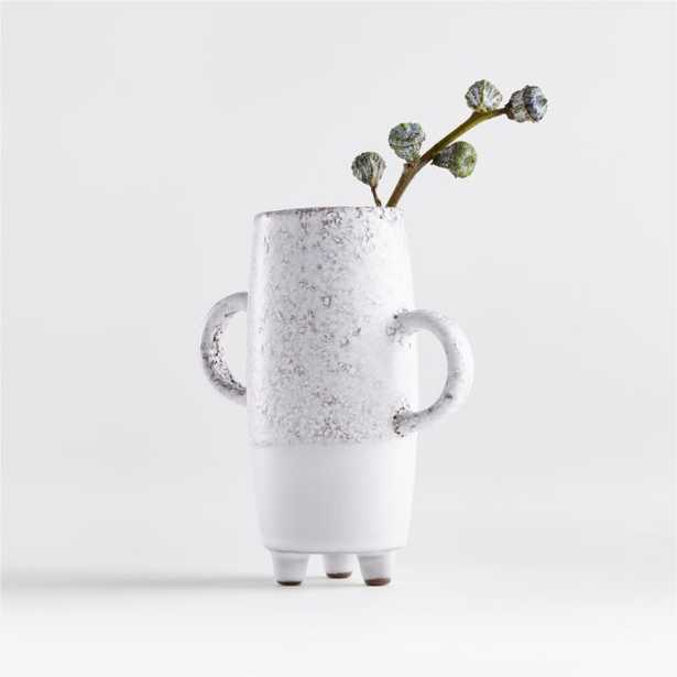 Fremont Mini White Vase with Handle - Crate and Barrel