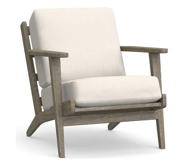 Raylan Lounge Chair Cushion, Sunbrella(R) Solid; Thatch Salt - Pottery Barn