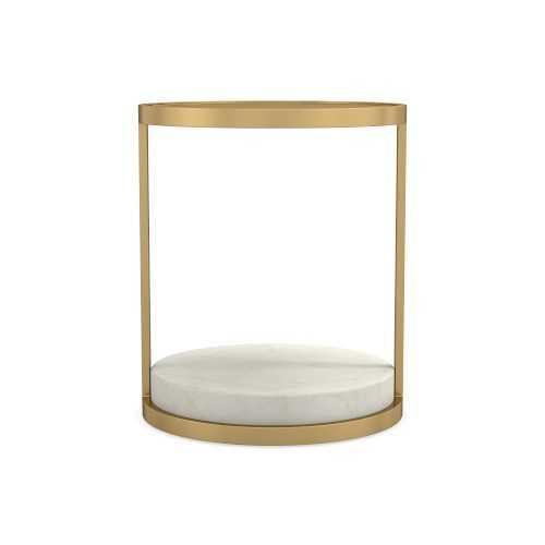 Odesa Medium Accent Table, Marble, White, Antique Brass - Williams Sonoma