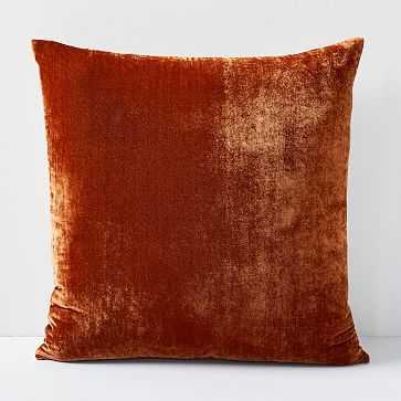 """Lush Velvet Pillow Cover, 20""""x20"""", Copper - West Elm"""