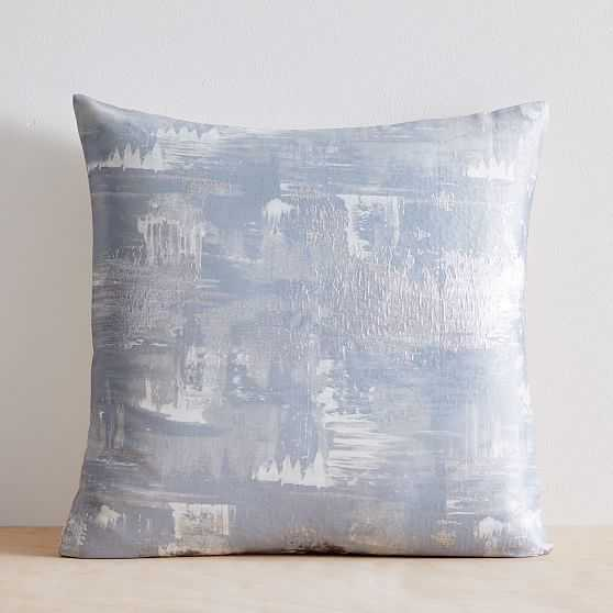"""Painterly Brocade Pillow Cover, Set of 2, Silver Blue, 20""""x20"""" - West Elm"""