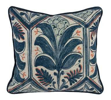 """Palm Pillow Cover, 18"""" x 18"""", Blue/coral - Pottery Barn"""