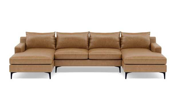 Sloan Leather U-Sectional with Brown Palomino Leather, down alt. cushions, and Matte Black legs - Interior Define
