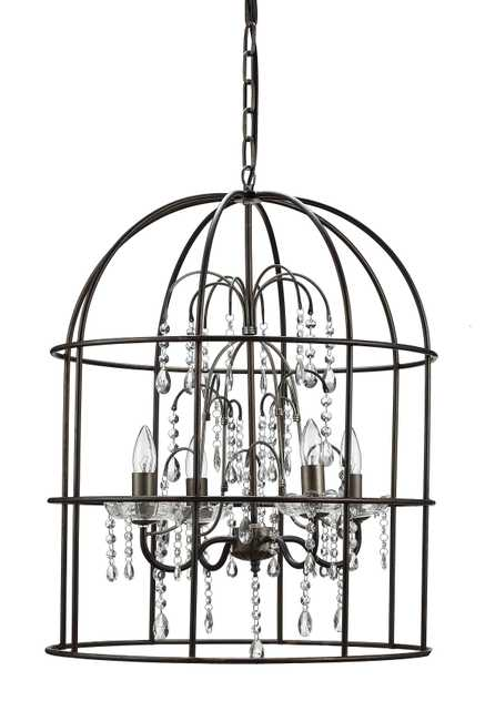 Metal Birdcage Chandelier with 4 Lights & Glass Crystals - Nomad Home