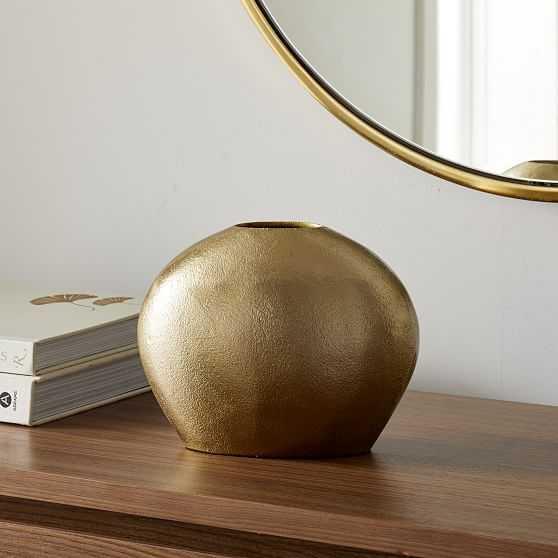 Metal Pebble Vase, Brass, Low Round - West Elm
