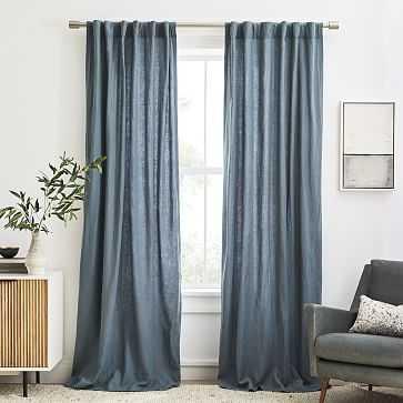 "European Flax Linen Curtain, Ocean, 48""x84"" - West Elm"