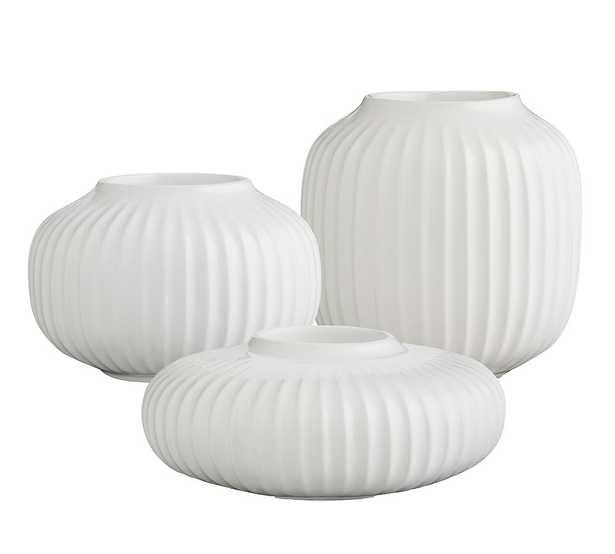 Kahler Hammershoi White Porcelain Tealight Holder, Set of 3 - Pottery Barn