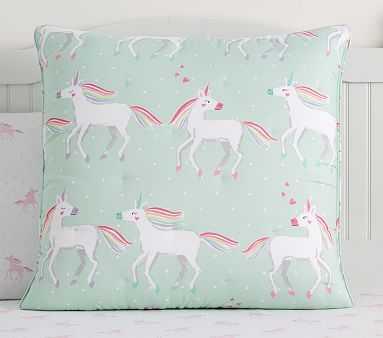 Molly Unicorn Dream Puff Comforter, Euro Sham, Aqua Multi - Pottery Barn Kids