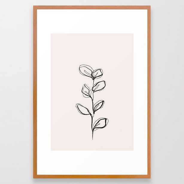 Plant One Line Drawing Illustration - Nora I Framed Art Print by The Colour Study - Conservation Pecan - LARGE (Gallery)-26x38 - Society6