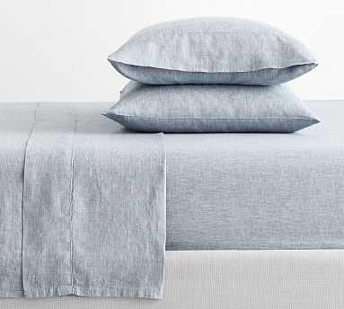 Belgian Flax Linen Sheet Set, Queen, Chambray/Flax - Pottery Barn