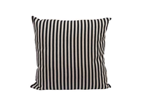 Square Cotton Woven Pillow with Black & Cream Stripes - Nomad Home