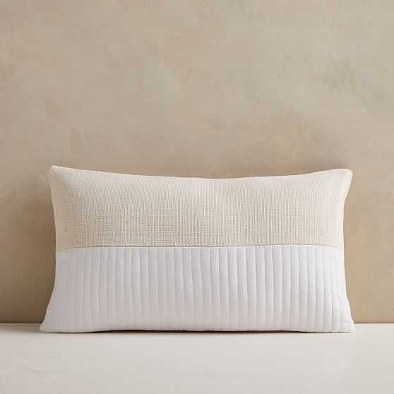 """Quilted Cotton Pillow Cover, 12""""x21"""", White - West Elm"""