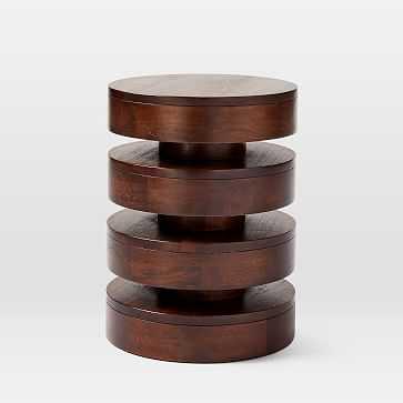 Floating Disks Side Table, Dark Walnut - West Elm