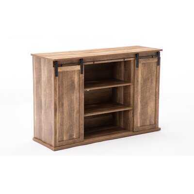 Rustic Media Cabinet With Barn Door And Open Storage, Natural - Wayfair