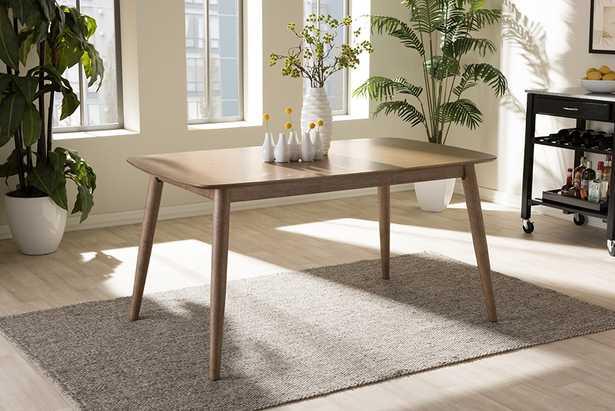 """Edna Mid-Century Modern French """"Oak"""" Light Brown Finishing Wood Dining Table - Lark Interiors"""