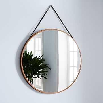 "Modern Hanging Oversized Mirror, Walnut/Black, 36"" - West Elm"