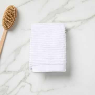 Organic Ribbed Towel, Hand Towel, White - West Elm