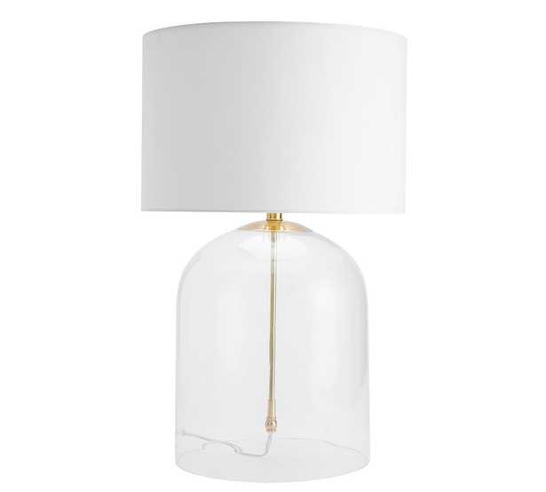 Aria Dome Table Lamp with Large Straight Sided Gallery Shade, Antique Brass/White - Pottery Barn