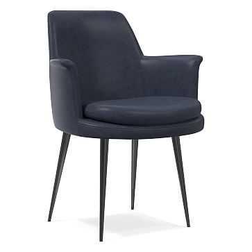 Finley Wing Dining Chair, Aspen Leather Aegean, Gunmetal - West Elm