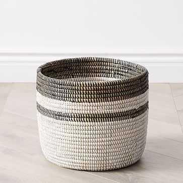 Colorblock Basket Planters, Floor, White & Black, Woven, Small - West Elm
