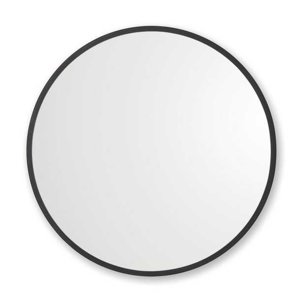 Better Bevel 36 in. x 36 in. Rubber Framed Round Mirror in Black - Home Depot