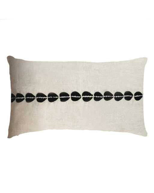 cowrie embroidered lumbar pillow in natural - PillowPia