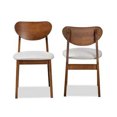 Copernicus Mid-Century Modern Sand Fabric Upholstered And Walnut Brown Finished Wood 2-Piece Dining Chair Set - Wayfair