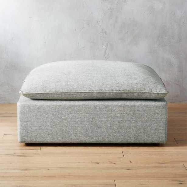 Lumin Grey Linen Ottoman - CB2