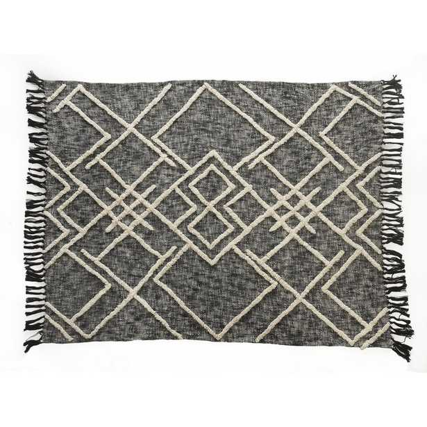 LR Home Contemporary Black / White Cotton Over Tufted Geometric Throw Blanket - Home Depot