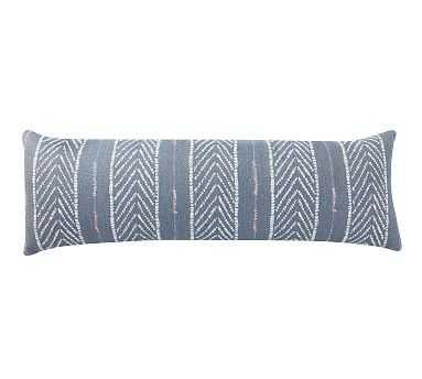 "Sunbrella(R) Quentin Woven Stripe Indoor/Outdoor Pillow, 11"" x 32"", Blue Multi - Pottery Barn"