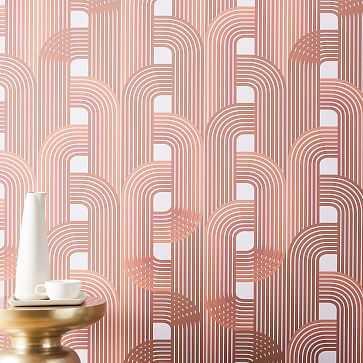 "Drop It Modern Raceway Wallpaper, Amber, 10'H x 28""W - West Elm"