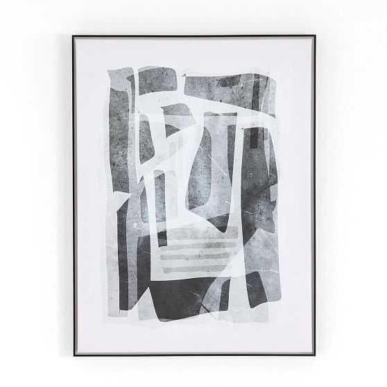 Black Tone Forms By Dan Hobday, Painting, Grey, Medium - West Elm