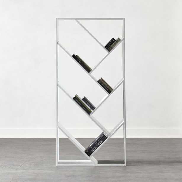 White Hi-Gloss V Bookcase-Room Divider - CB2