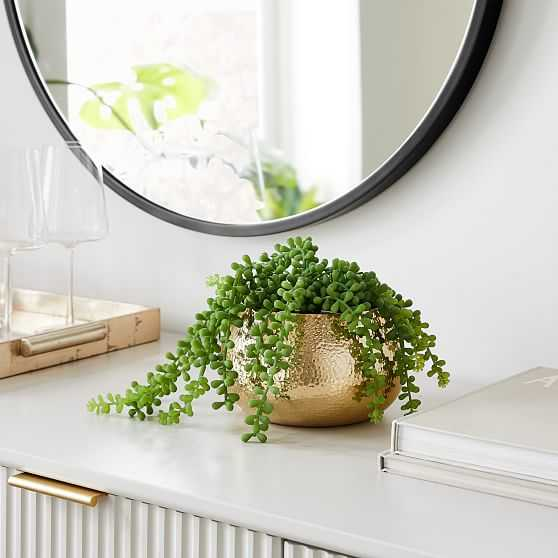 Hammered Metal Planter, Small Round, Polished Brass - West Elm