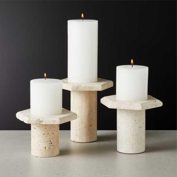 Roca Travertine Pillar Candle Stands Set of 3 - CB2